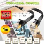 ノーブランド品  ブラック CAT7 イーサネットケーブル フラットパッチケーブル LANケーブル 全6サイズ 長さ可選 1M