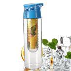 800ml 水筒 フルーツ ジュース 透明 ウォーター レモン スポーツボトル 健康 耐熱性 6色選べ - ブルー