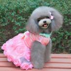 犬ペット子犬プリンセスドレスチュチュスカートレイヤードバラの装飾の服ピンクリットル