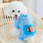 犬猫の子犬ペットソフト縞模様のパジャマのジャンプスーツのコート服アパレル青リットル