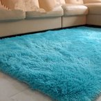 シャギーラグ - 青いふわふわラグアンチスキッドシャギーラグマット自宅の寝室のカーペットフロアマット