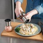 ガラス瓶を持つステンレススチールブラシをかけ、塩ミルペッパーミルボトル