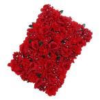 Homyl 全11色 結婚飾り 人工花 壁 花柱 主な道路 中央  - 赤