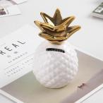 全2色 セラミック 創造的 かわいい パイナップル 貯金箱 コイン 貯金箱 キッズ ギフト 友人 子供 大きな 贈り物 - 白