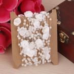 ノーブランド品 DIY 工芸品 装飾 5m 白 バラとラウンド ビーズ チェーン 家庭 結婚式 ギフト 衣服