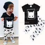 幼児の赤ちゃんの男の子の服半袖Tシャツパンツ夏の服装は、90センチメートルを設定しました