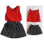 幼児の女の子の夏の服装の服Tシャツは、水玉模様のスカートがセット130トップス