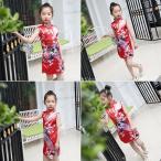 子供の女の子の古典的な花の孔雀中国のチャイナqipaoドレス赤#10