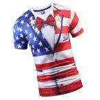 男女兼用 3D アメリカ国旗柄 半袖 シャツ トップ 通気性 ソフト ファッション 全6サイズ - L