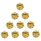 ノーブランド品 10個 フィリグリー 花のペンダント チャーム ジュエリー 芸術 装飾 金