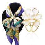 ノーブランド品 レディース ファッション 3リング 花 スカーフ バックル ブローチ リング クリップ 飾り アクセサリーン