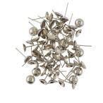 ノーブランド品 100本 イヤリング 空白カップ 耳スタッドピン ジュエリーDIY 銀色 13×6ミリメートル