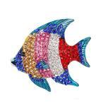 カラフル ラインストーン キラキラ 魚型 ブローチ ショールピン ストールピン 結婚式 ジュエリー 1個