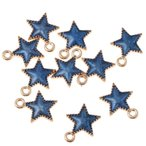 10個セット 合金製 五芒星型 チャーム ペンダント アクセサリーパーツ ハンドメイド材料 全5色 - ブルー