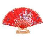派手 花柄 ハンドファン 扇子 猛暑対策 パーティー 仮装道具 踊り 練習用 着物浴衣 装飾小物 全8色選べる - 赤