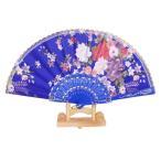 女性 日本風 折りたたみ ハンドファン 扇子 ポケットファン 夏の行事 ガーデンパーティー 屋外結婚式に 花 ロイヤルブルー
