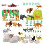 Lovoski 100個 プラスチック 野生動物 置物 動物園動物 フェンス 木 モデル 装飾 おもちゃ ギフト