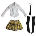 Dovewill かわいい 1/6スケール 布製 学生 制服 シャツ スカート セット 12 インチ アクション女性ボディ対応 全5色選べる - 黄