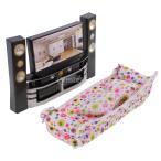Yahoo!STKショップDovewill  プラスチック テレビキャビネット オーディオプレーヤー ソファ バービー人形用 ドールハウス 装飾