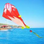 B Blesiya 贈り物 おもちゃ ポリエステル製 イルカ形 パラフォイルカイト カイト 凧 4色選ぶ - レッド