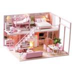 3Dパズル 1/24ドールハウス ミニチュア ピンクハウス 家具キット 組み立て 木製 DIY 玩具