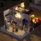 ドールハウスミニチュア家具.diy木製ドールハウス部屋キット防塵とledライト.1:24スケールクリエイティブルームビルのおもちゃ