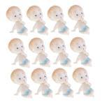 約12個 赤ちゃん人形 ミニベビードール 人形 ベビーシャワー テーブルの装飾 パーティー 2色2タイプ選べる - 青2