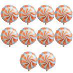 10個 箔の風船 バルーン ラウンド ロリポップ キャンディー バルーン 誕生日 パーティー 装飾 全6色選べる - オレンジ