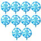 10個 箔の風船 バルーン ラウンド ロリポップ キャンディー バルーン 誕生日 パーティー 装飾 全6色選べる - 青