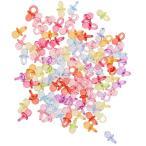 約100個 ミニサイズ 可愛い おしゃぶり 赤ちゃん おもちゃ ベビーシャワー パーティー DIY ネックレス 手作り 装飾 5色選べる - マルチ