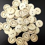 100個入り ハートの柄 縫製ボタン 装飾ボタン DIY工芸用 木製ボタン 編み物用 2サイズ2柄選べ - 15mm, ハート#2