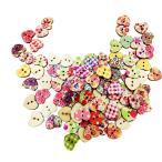 全3種選ぶ 約100枚 手芸 手作り 木製 花 四角い ハート 縫製 工芸用 ボタン DIY小物 - #1