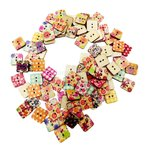 約100枚 ボタン 小物 木製 花 四角い ハート 縫製 工芸用 手芸  ホビー 全3種選ぶ - #2