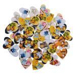 木製ボタン フクロウプリント ハート型  穴付きボタン 縫製用  約50枚