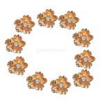 10個 ブライダル DIY ラインストーン ボタン フラットバック 装飾 工芸 花嫁 アクセサリー 多種類選ぶ - ゴールド, 1.5cm