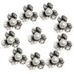 ジュエリー製作 シルバーフラワー 人工真珠フラット バックボタン お花形 10ピース 全2サイズ - アンティークシルバー, 18mm