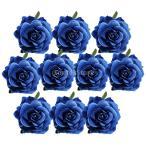 Yahoo!STKショップLovoski 人工シルク 造花ローズ DIYアクセサリー バズフラワー ホーム装飾 結婚式飾り 10個入り 全10色 - 青