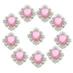 ファッション フラットバック アクリルクリスタル ラインストーンボタン DIYジュエリー 手芸クラフト 全16色選べ 10個入り - ピンク