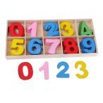 子どものおもちゃ 収納皿付き アラビア数字 木製 約60個入り カラフルな 工芸品