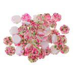 アクセサリー 贈り物 フラットバック カボション 花の形 樹脂 約50個入り 全8色 - ピンクとグリーン