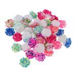 アクセサリー 贈り物 フラットバック カボション 花の形 樹脂 約50個入り 全8色 - 混合色