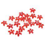 結婚式の赤のための20の花のフラットバックボタンのラインストーンの装飾