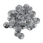 メタルボタン 装飾ボタン シャンクボタン 手芸ボタン 花柄 DIY 衣類 コート アクセサリー 約50個入り