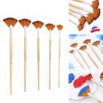 5ピース/セットファン塗料ブラシセットアーティストのためのアクリル画水彩油絵アーティスト学生描画バルクプレミアム木製ハンドルブラシ