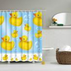 防水 シャワーカーテン バスルームの装飾 カーテン 動物柄 12リング付属 180×180cm 部屋 装飾 実用的 3種選べ - アヒル