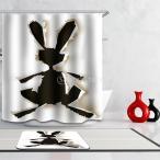 お風呂カーテン 動物の世界 風景 12リング付属 シャワーカーテン 防カビ 防水機能 全20パタン - ウサギ