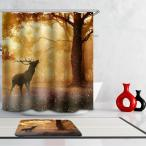 シャワーカーテン 工芸の絵 12リング付属 180×180cm カビ耐性 風呂カーテン 実用 ギフト 14種選べ - 鹿