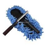 Fenteer ブラシ マイクロファイバー 洗車用 全2色 スポンジ モップ 伸縮    - ブルー