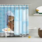 フック付き シャワーカーテン 防水布 バスルーム インテリア 取り付け簡単 全16タイプ - かわいいねこ