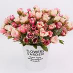 Perfk 花束 人工バラ 20頭 造花 全6色 部屋 装飾 - ローズレッド